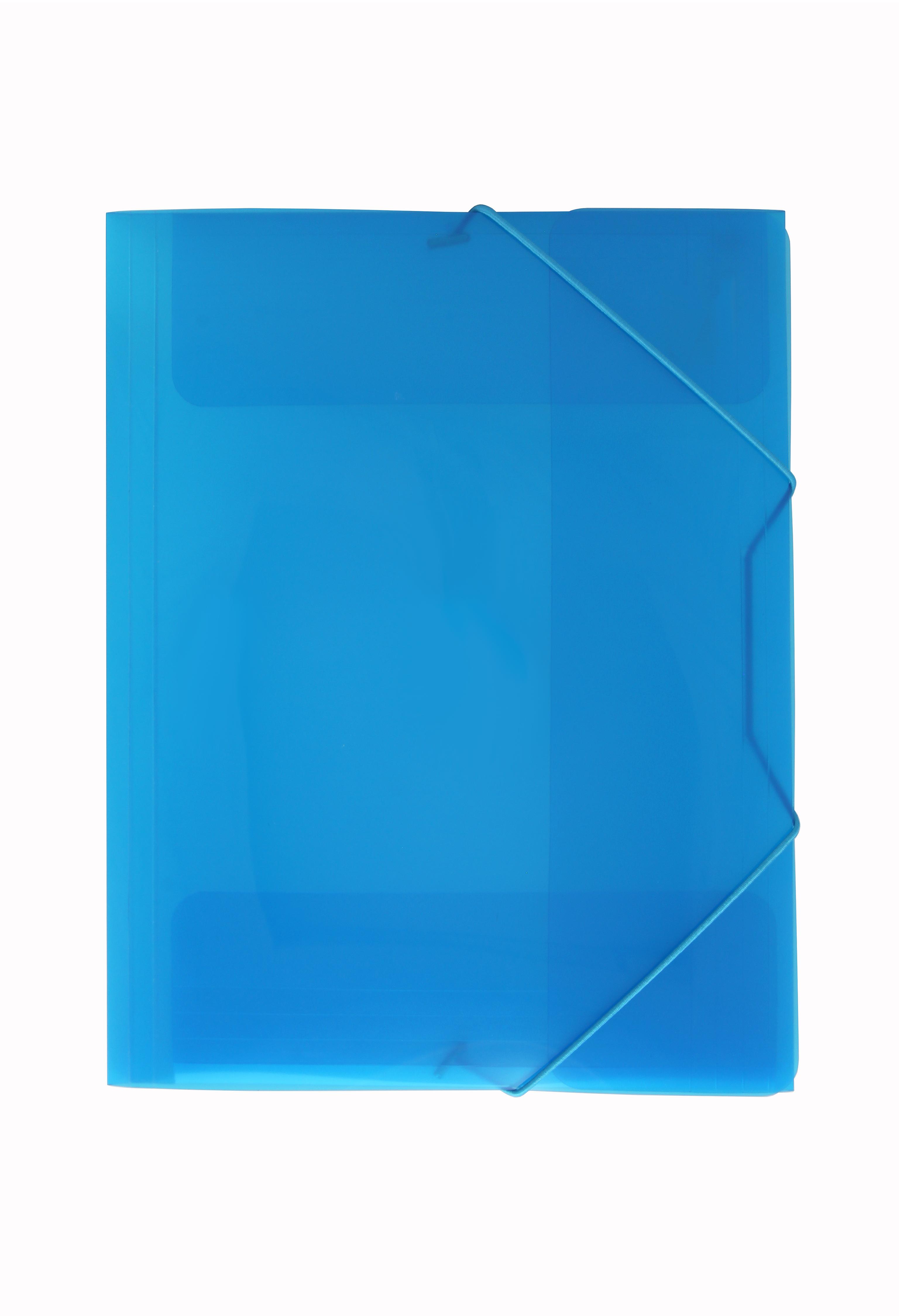 Image of   3-klap elastikmappe A4 transp. blå