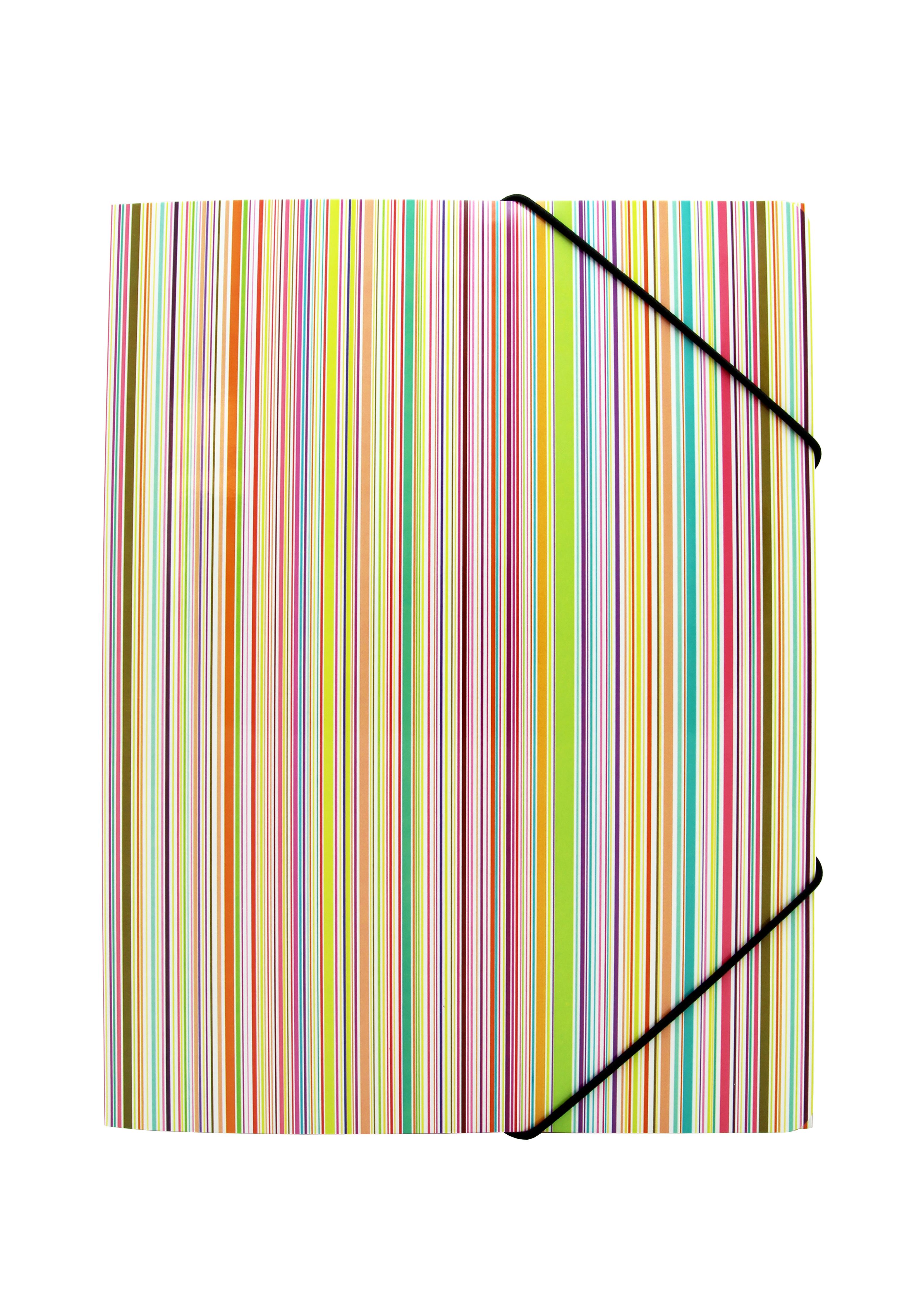 Image of   3-klap elastikmappe A4, karton, regnbue