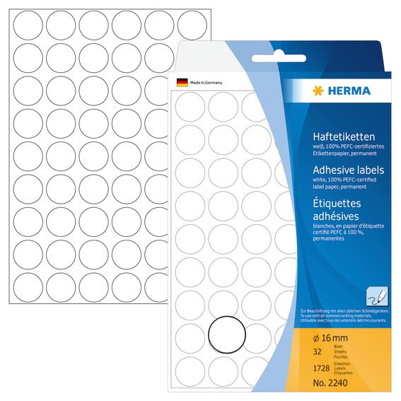Billede af Mærkningsetiketter HERMA hvid 16mm