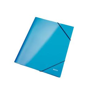 Image of   3-klap elastikmappe WOW A4 blå