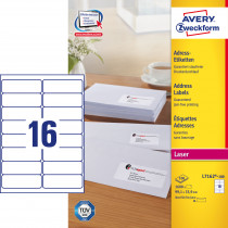Avery adresseetiket 99,1x33,9mm QP (1600)