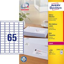 Avery adresseetiket 38,1x21,2mm QP (6500)