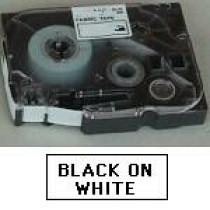 Brother TZe tape 12mmx8m non laminated sort/hvid