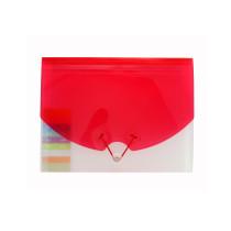 Harmonikamappe med 10 lommer, klar/rød