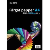 Farvet papir A4 80g assorteret 50 ark