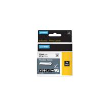 Dymo Rhino tape 12mmx3,5m flexible nylon sort/hvid
