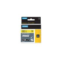 Dymo Rhino tape 12mmx3,5m flexible nylon sort/gul