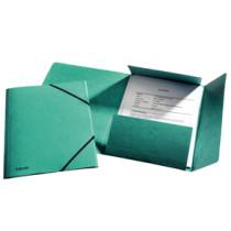 3-klap elastikmappe A4 grøn