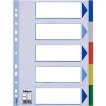 Faneblade PP A4 5-delt farvede faner