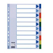 Faneblade PP A4 10-delt farvede faner