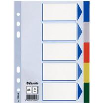 Faneblade PP A5 5-delt farvede faner
