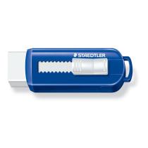 Viskelæder PVC frit m/skub funktion blå/hvid